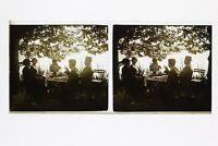 Francia Famille snapshot Amateur Foto Stereo L7n14 Vintage Placca Da Lente