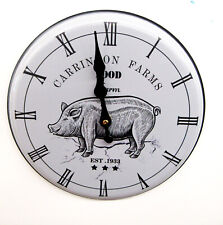 "New Carrington Farms 10 "" Kitchen Clock With A Pig Motif"