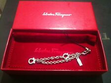 Salvatore Ferragamo Silver Chain and Crystal Mobile Phone Charm with 6cm Strap