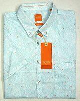 NWT $125 Hugo Boss Slim Fit Light Blue Shirt Mens Size L XL XXL Short Sleeve NEW