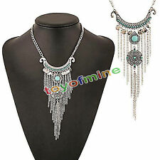 Bohemian Gypsy Retro Turquoise Tassel Coin Long Chain Pendant Necklace
