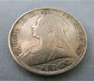 KM# 783 QUEEN VICTORIA 1895 LVIII 3RD PORTRAIT OLD VEILED BUST SILVER CROWN