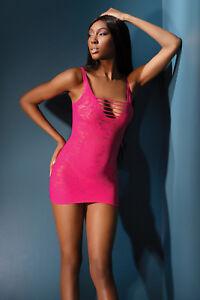 Minikleid Spitze pink Netzkleid Netz Kleid Gr.34-38 OS Geschenkverpackung Club