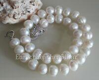 schöne kultivierte 11-12mm Weiß Süßwasserperlen Tiger Kopf Halskette 18 Zoll