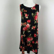 Nelly Womens Dress Small Black Floral Sleeveless Knit Pockets USA