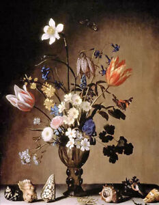 Oil painting balthasar van der ast - still life with flowers and shells canvas