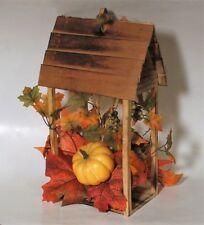 Fall Wood House Thanksgiving Table Decor Pumpkin Leaf Centerpiece - New