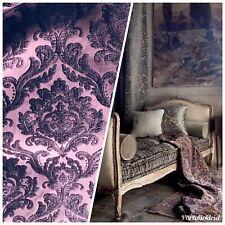 NEW Designer Velvet Chenille Burnout Damask Upholstery Fabric - Purple