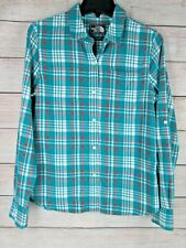 The North Face Women's Plaid Button Down Shirt Teal Pockets Medium M Casual Top