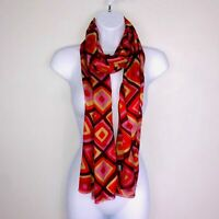 2 Chic Women Scarf Lightweight Oblong Purple Red Abstract Pattern Career MM49