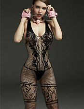 7098 fishnet bodystocking Sexy Lingerie Bodysuit garter Crotchless tight Catsuit