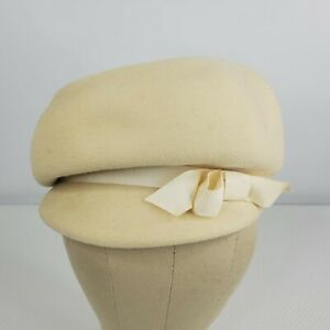 Vintage Womens Cloche Hat Ivory Wool Union Made 1960s Mod