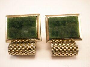 -Jade Green Stone Vintage Wraparound Mesh Watchband Cuff Links quality