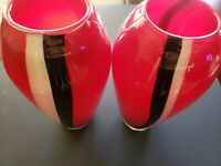 Red Glass Vase Pair