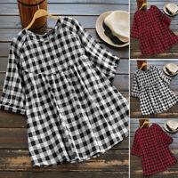 ZANZEA Femme Chemise Shirt Haut Manche 3/4 Col Rond à carreaux Boutons Plus