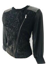Karen Millen Snakeskin Print Fine Knit Sheer Sleeve Biker Zip Cardigan 8-10