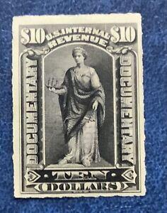 1898 US SC R176 Revenue $10 Black, Roulette - Mint Original Gum VF/XF 90521001