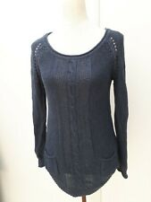 Mantaray Ladies Size 8 Blue Cable Knit Jumper Winter Fashion Knitwear Debenhams
