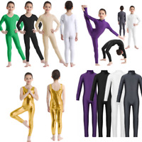 Girls Long Sleeve Dance Gymnastic Leotard Unitard Full Length Bodysuit Catsuit