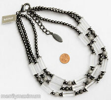 Chico's Signed Long Multi Strand Necklace Black Pave Crystal Clear Tube Bead NWT