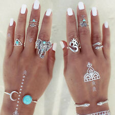 8PCS/Set Vintage Boho Ring With Turquoise Hippie Gothic Elephant Snake Rings
