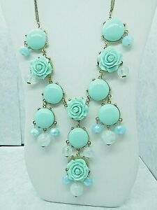 Erica Lyons Triple Chain Gold Tone Necklace Mint Green Disks & Roses Pendants