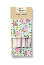 Cooksmart 3 pk Tea towels, Vintage Floral