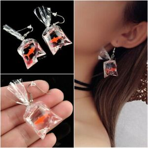 Lovely Red Goldfish Plastic Bag Ear Drop Earrings Girl Party Band Jewelry Gifts