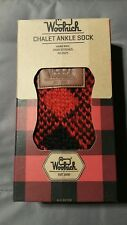 Woolrich Small 6-8 Hand Knit Chalet Ankle Slipper Socks Red Black Buffalo Plaid