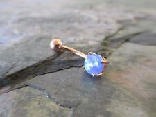 Blue Faux Opal Rose Gold Titanium Plated Belly Button Navel Ring Body Jewelry