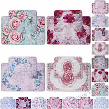 2pc Floral Printed Memory Foam Bath Mat Sets Anti Slip Extra Absorbent Rugs GC