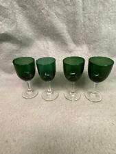 """VINTAGE GREEN TO CLEAR GL;ASS WINES GLASSES 5 1/4"""" TALL LOT OF 4"""