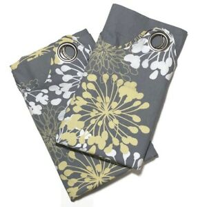 Madison Park Adria Ikat Curtains 50 x 64 Pair Grommet Top Floral Gray Yellow