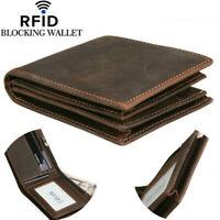 Genuine Leather Mens Billfold Wallet Zipper RFID Blocking Card Holder Coin Purse