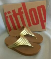 New Fitflop Lottie Padded Artisan Gold PU Toe Post Ladies Sandals Box Size 6.5