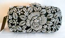 Minaudiere Evening Bag Handbag Crystal Evening Black Bead Flower Silver NEW