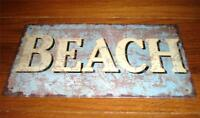 BEACH Tin Sign Rustic Look Tropical Nautical Ocean Seaside Home Lake House Decor