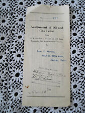 Gas and Oil Lease State of Texas Nov 1920 Antique Paper