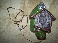VTG 70's Whimsical Lanshire Clock Movement Handpainted Ceramic Woodsy Bird House
