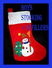 Kids Filled Christmas Stocking + 10 Party Novelty Fillers Toys New BOYS