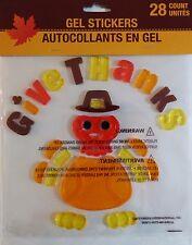 Fall Autumn GEL Sticker Window Clings ~ Give Thanks Turkey 28 Ct.