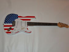 DWIGHT YOAKAM SIGNED USA FLAG ELECTRIC GUITAR COUNTRY LEGEND PROOF