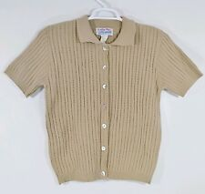 Tally Ho Button Front Sweater Beige Acrylic Large Pollak Import Short Sleeve