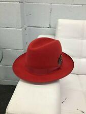Selentino Deuce & a Quarter Suede Fur Felt Fedora Hat, Hot Red Color Size 56, 7