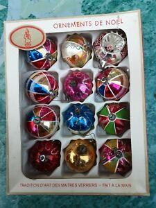 12 Boules de sapin de Noël vintage retro cassable