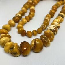 NATURAL ANTIQUE YELLOW BUTTERSCOTCH EGG YOLK BALTIC AMBER  NECKLACE 74 grams