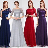 US Ever Pretty Lace Sleeve Long Mother Of Bride Dress Formal Evening Party Gowns