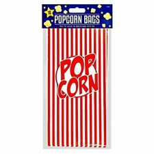POPCORN PAPER BAGS (10 in pack) MOVIE FILM PARTY FUN RED STRIPES STRIPED RETRO