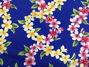 Blue Plumeria Hawaiian Print Fabric Sold by the Yard 100% Cotton