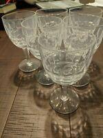 Vintage Set of 6 Stuart England Crystal Wine Glasses Water Goblets
